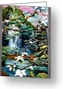 Peaceful Tapestries - Textiles Greeting Cards - Spring Greeting Card by Kimberly Simon
