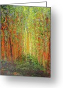 Sunset Greeting Cards Mixed Media Greeting Cards - Spring Light in the Woods2 Greeting Card by Peg Bachenheimer