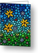 "\""blue Flowers\\\"" Greeting Cards - Spring Maidens Greeting Card by Sharon Cummings"