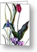 Tulip Art Botanical Art Mixed Media Greeting Cards - Spring Mix Greeting Card by Mindy Newman