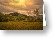 White Greeting Cards - Spring Rain - White Mountains -Maine Greeting Card by Bob Orsillo