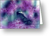 Pink Flower Branch Greeting Cards - Spring Rhapsody Blossoms Greeting Card by Cathy  Beharriell