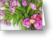 Purples Greeting Cards - Spring Roses and Tulips Greeting Card by Margaret Hood