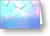 Waves Pastels Greeting Cards - Spring seas Greeting Card by Evelyn Patrick