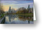 Chicago Skyline Greeting Cards - Spring Serenity  Greeting Card by Doug Kreuger