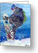 Snow Boarding Greeting Cards - Spring Snowboarder Greeting Card by Sara Pendlebury