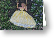Ball Gown Painting Greeting Cards - Spring Swing Greeting Card by William Ohanlan