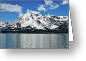 Alpine Panorama Greeting Cards - Spring Teton Panorama Greeting Card by Greg Norrell