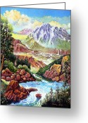 Rocks Prints Mixed Media Greeting Cards - Spring Thaw High in the Rockies. Greeting Card by Donn Kay