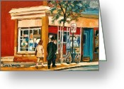 Store Fronts Greeting Cards - Spring Time In Montreal City Scene Greeting Card by Carole Spandau