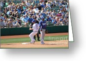 Third Base Greeting Cards - Spring Training 12-33 Greeting Card by Pamela Walrath