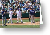Third Base Greeting Cards - Spring Training 12-34 Greeting Card by Pamela Walrath