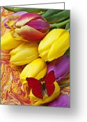 Table Cloth Greeting Cards - Spring tulips Greeting Card by Garry Gay