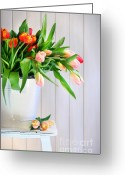 Florist Greeting Cards - Spring tulips on an old bench Greeting Card by Sandra Cunningham