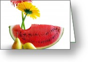 Tropical Fruits Greeting Cards - Spring Watermelon Greeting Card by Carlos Caetano