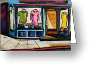 Old Street Drawings Greeting Cards - Spring Windows Greeting Card by John  Williams