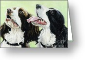 English Springer Spaniel Greeting Cards - Springer Beggers Greeting Card by Charlotte Yealey