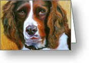 Happy Drawings Greeting Cards - Springer Spaniel Greeting Card by Susan A Becker