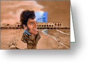 Bruce Springsteen Painting Greeting Cards - Springsteen on the Beach Greeting Card by Ken Meyer jr