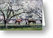 Jockeys Greeting Cards - Springtime at Keeneland Greeting Card by Thomas Allen Pauly