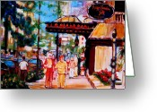Montreal Street Life Greeting Cards - Springtime At The Ritz Greeting Card by Carole Spandau
