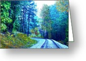 Woodlands Mixed Media Greeting Cards - Springtime at the Tracks Greeting Card by Maria Urso - Artist and Photographer