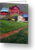 Carversville Greeting Cards - Springtime at Willoughby Farm Greeting Card by Kit Dalton