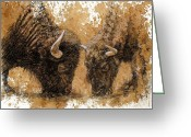 Buffalo Drawings Greeting Cards - Springtime Nosh Greeting Card by Debra Jones