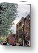 South Philly Greeting Cards - Springtime On Lombard St. Greeting Card by Thomas  MacPherson Jr