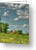 Red Barn Greeting Cards - Springtime  Greeting Card by Pamela Baker