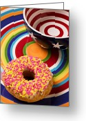 Holes Greeting Cards - Sprinkled donut on circle plate with bowl Greeting Card by Garry Gay