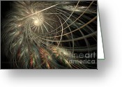 Lacy Fractal Greeting Cards - Spun Feathers Greeting Card by Ann Garrett