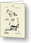 Antique Artwork Greeting Cards - Spur 1877 Patent Art Greeting Card by Prior Art Design