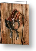 Riders Greeting Cards - Spurs Greeting Card by Garry Gay