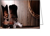 Riding Boots Photo Greeting Cards - Spurs on Cowboy Boots Heels Greeting Card by Olivier Le Queinec