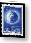 Postage Stamp Greeting Cards - Sputnik 1 Stamp Greeting Card by Detlev Van Ravenswaay