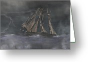 Sails Digital Art Greeting Cards - Squall Greeting Card by Carol and Mike Werner
