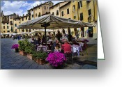 Roman Photo Greeting Cards - Square Amphitheater in Lucca Italy Greeting Card by David Smith