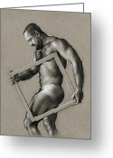 Nudes Drawings Greeting Cards - Square Greeting Card by Chris  Lopez
