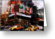 City Illusion Greeting Cards - Square Color Explosion Greeting Card by Anthony Ross