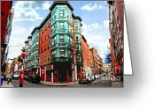 Old Street Greeting Cards - Square in old Boston Greeting Card by Elena Elisseeva