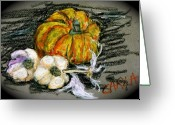 Vegetables Pastels Greeting Cards - Squash and Garlic Greeting Card by Carla Stein