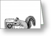 Coffee Drawings Greeting Cards - Squirrel With Bag Of Coffee Beans Greeting Card by Karl Addison