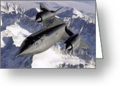 Snowcapped Greeting Cards - Sr-71b Blackbird In Flight Greeting Card by Stocktrek Images