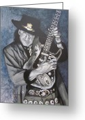 Guitar Greeting Cards - SRV - Stevie Ray Vaughan  Greeting Card by Eric Dee