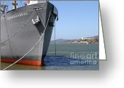 Alcatraz Greeting Cards - SS Jeremiah Obrien Liberty Ship At Fishermans Wharf With Alcatraz In The Distance . SF CA . 7D14437 Greeting Card by Wingsdomain Art and Photography
