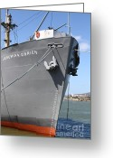 Alcatraz Greeting Cards - SS Jeremiah Obrien Liberty Ship At Fishermans Wharf With Alcatraz In The Distance . SF CA . 7D14439 Greeting Card by Wingsdomain Art and Photography