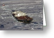 Ice-floe Greeting Cards - Ss Manhattan Leads Macdonald Greeting Card by Joe Rychetnik