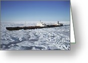 Ice-floe Greeting Cards - Ss Manhattan Sails In Melville Sound Greeting Card by Joe Rychetnik