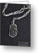 Silver Jewelry Greeting Cards - SS wire wrapped Moldavite Pendant Greeting Card by Diana Nigon